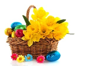 basket, chocolate, eggs, Daffodils
