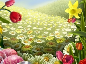 Flowers, color, eggs, easter, paint, Spring