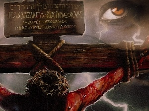 Eyes, crucified, Jesus