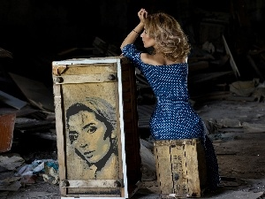girl, Drawing, face, Boxes