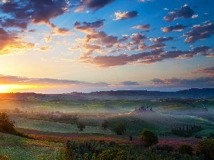 sun, medows, Mountains, Tuscany, clouds, field, Farms, Italy, autumn, rays