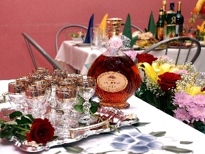 cognac, glasses, Flowers, armenian