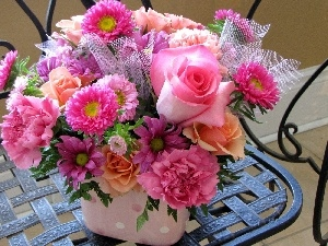 flowers, bouquet, pink