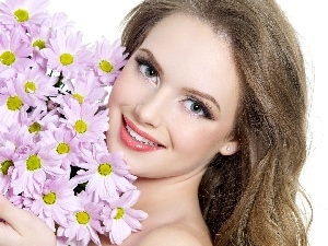 smiling, bouquet, flowers, Women