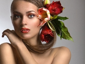 Make-up, Women, Flowers
