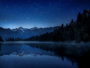 Fog, Night, lake, forest, Mountains
