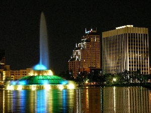 night, fountain, clouds, Orlando, skyscrapers
