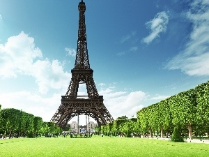 France, Eiffla Tower, House, construction, Buldings, Paris