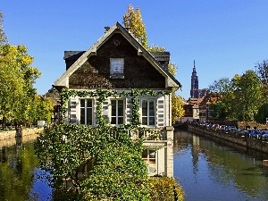 River, green, France, house
