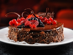 chocolate, decoration, Fruits, Cake