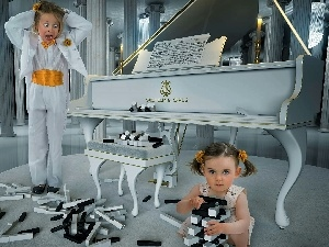 girls, keys, Funny, Piano