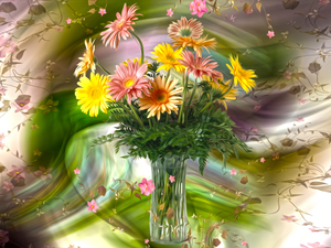 Flowers, Vase, graphics, gerberas