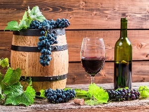 glass, Bottle, barrel, Wine, Grapes