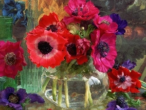 Vase, Red, grape, decoration, Black, Anemones