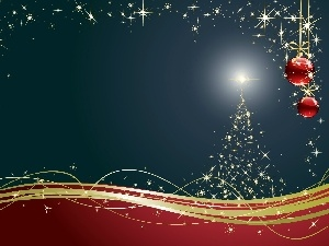 graphics, composition, Stars, christmas tree, baubles, Christmas