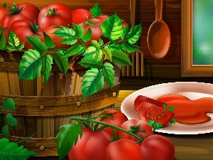 tomatoes, plate, graphics, Leaf