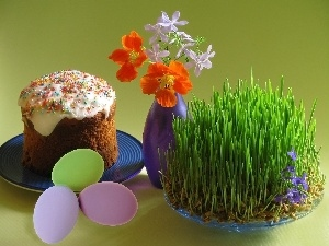 grass, Flowers, cake, Easter, eggs