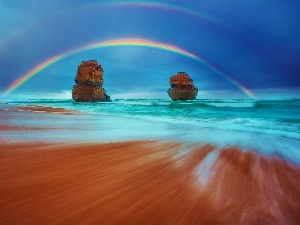sea, rocks, Great Rainbows