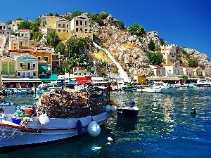 Boat, Hill, Greece, Houses