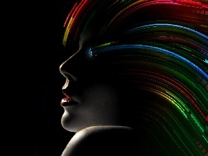 Hair, profile, rainbow