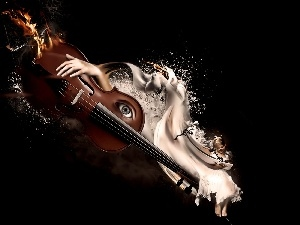 hand, eye, violin, girl, burning