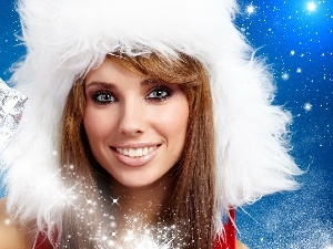 Hat, christmas, Smile, White, Women