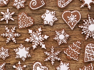 Christmas, glace, heart, Christmas, Stars, Gingerbread