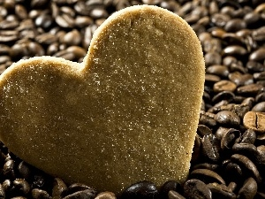 coffee, cake, Heart teddybear, grains