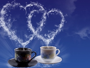 Two, coffee, heart, cups