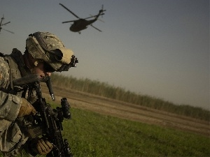 helicopters, soldier, gun