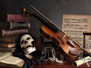 Books, skull, Tunes, hourglass, composition, violin, chaplet