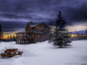 house, Christmas, snow, Bench, clouds