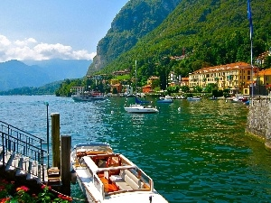 Mountains, boats, Houses, River