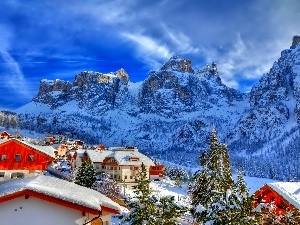 Houses, winter, Mountains