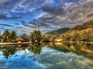 Houses, water, Mountains, Palms, clouds