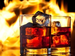 ice, Flames, Whisky, knuckle, Glass