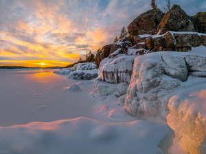 Icecream, icy, Russia, rocks, Karelia, Lake Ladoga, winter, Great Sunsets