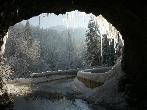 winter, tunnel, icicle, Way