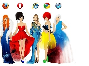 Womens, Browsers, watercolor, Fashion and Style, Colorful Dresses, Icons