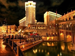 Hotel hall, Night, North America, illuminated, Town, Venetian, Las Vegas