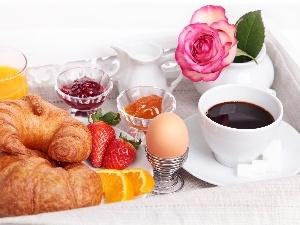 Jam, breakfast, egg, coffee, croissants