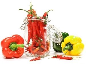 different, Chilli, jar, peppers