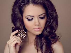 make-up, brunette, jewellery