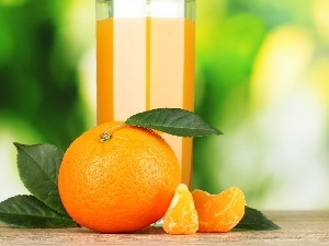 juice, orange, leaves
