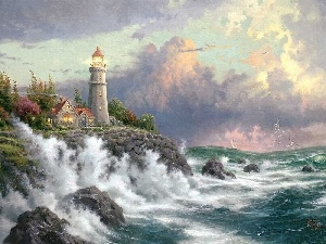 maritime, Sky, Waves, Lighthouse, sea, Coast, Thomas Kinkade