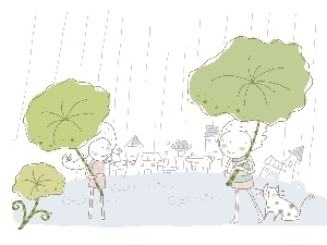 Kids, Leaf, kitten, Rain
