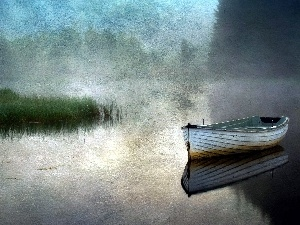 lake, rushes, picture, Boat, painting