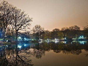 twilight, Park, lake, Floodlit