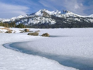 winter, frozen, lake, Mountains
