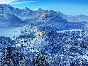 lakes, Castle, Mountains, woods, winter